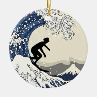 The Great Surfer of Kanagawa Round Ceramic Decoration