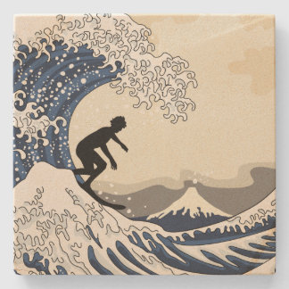 The Great Surfer of Kanagawa Stone Coaster