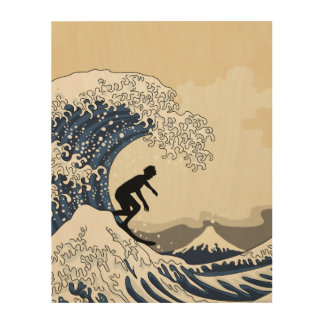 The Great Surfer of Kanagawa Wood Canvases