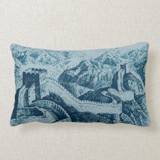The Great Wall in Navy Blue Lumbar Cushion