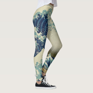 The Great Wave by Hokusai, Vintage Japanese Art Leggings