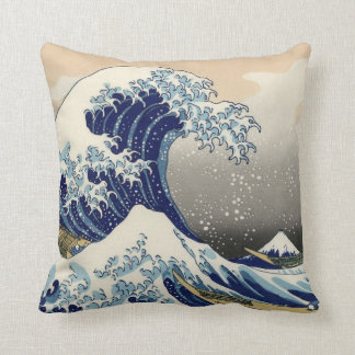 """The Great Wave"" copy of Hokusai's original c.1930 Throw Pillow"