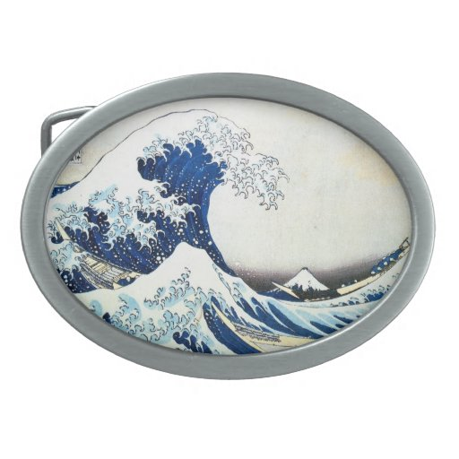 """The Great Wave"" Japanese Painting by Hokusai Belt Buckles"