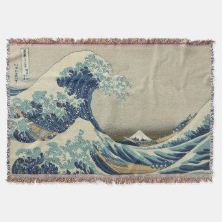 The Great Wave Mt Fuji Throw Blanket