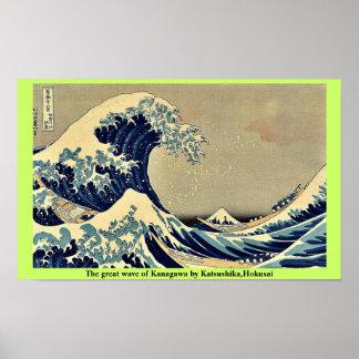 The great wave of Kanagawa by Katsushika,Hokusai Poster