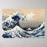 The Great Wave off Kanagawa 8 Bit Pixel Art Posters