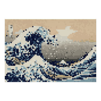 The Great Wave off Kanagawa 8 Bit Pixel Art Posters