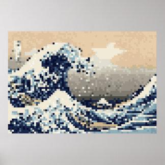 The Great Wave off Kanagawa 8 Bit Pixel Art Poster