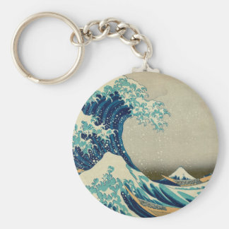 The Great Wave off Kanagawa Basic Round Button Key Ring