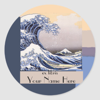 The Great Wave off Kanagawa Bookplate Round Sticker