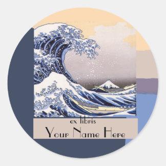 The Great Wave off Kanagawa Bookplate Round Sticker