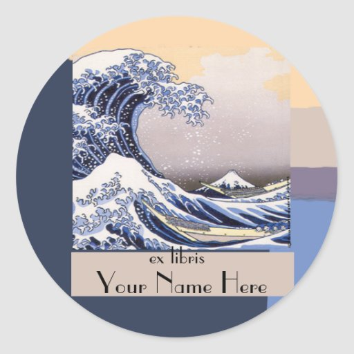 The Great Wave off Kanagawa Bookplate Round Stickers