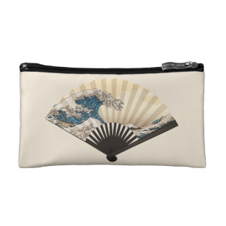The Great Wave off Kanagawa Fan Makeup Bag