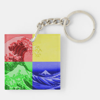 The Great Wave off Kanagawa (quadrant colors) Double-Sided Square Acrylic Key Ring