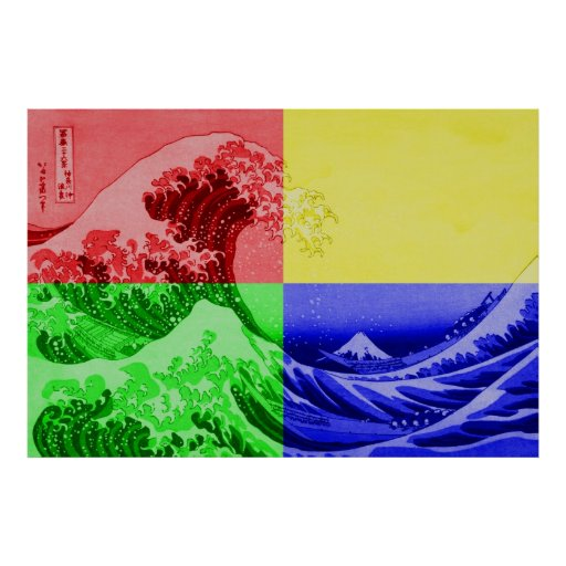 The Great Wave off Kanagawa (quadrant colors) Poster