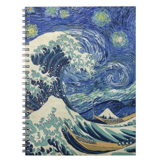 The Great Wave Off Kanagawa - The Starry Night Spiral Note Book