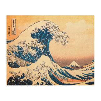The Great Wave Off Kanagawa Wood Canvas