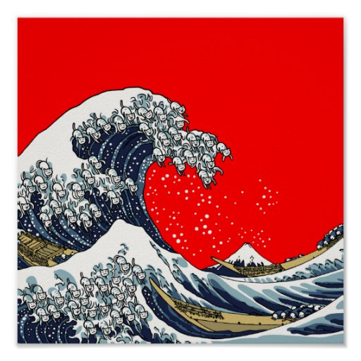 The Great Wave Off Katagawa RED Poster