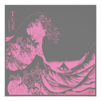 The Great Wave Poster Pink & Gray
