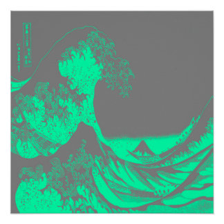 The Great Wave Seafoam Green & Gray Poster