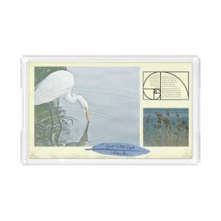 The Great White Egret --- Rectangular Acrylic Tray