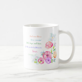 the greatest of these is love watercolor flowers coffee mug