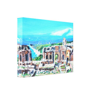 The Greek Theater in Taormina Stretched Canvas Pri Gallery Wrap Canvas