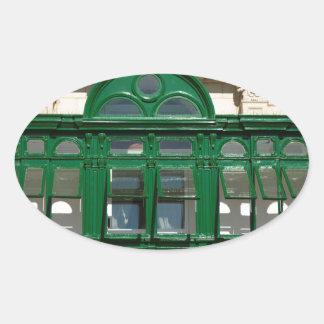 The green balcony oval sticker