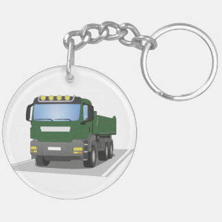 the Green building sites truck Double-Sided Round Acrylic Key Ring