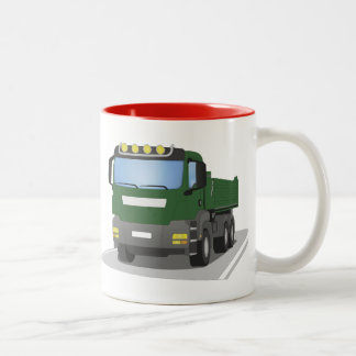 the Green building sites truck Two-Tone Coffee Mug