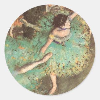 The Green Dancer by Edgar Degas, Vintage Ballet Round Sticker
