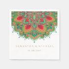 The Green Mandala Wedding Paper Napkin