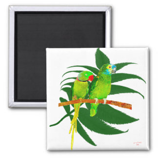 The Green Parrots Gifts Fridge Magnets