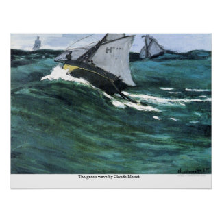 The green wave by Claude Monet Posters
