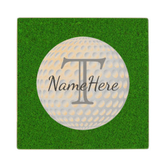 The Greens, Golf Coasters with Name and Monogram Maple Wood Coaster