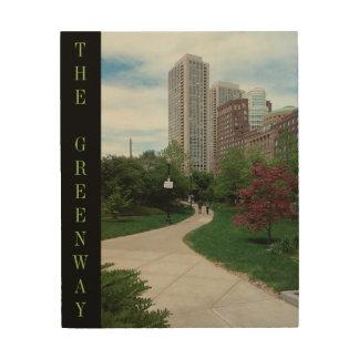 """The Greenway in Summer"" Boston, MA. 8x10 Wood Art"