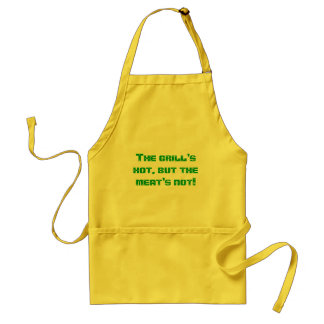 The grill's hot, but the meat's not! adult apron