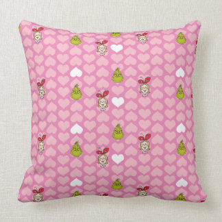 The Grinch & Cindy-Lou Pink Heart Pattern Cushion