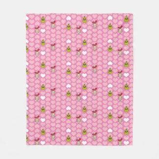 The Grinch & Cindy-Lou Pink Heart Pattern Fleece Blanket