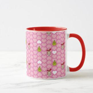 The Grinch & Cindy-Lou Pink Heart Pattern Mug