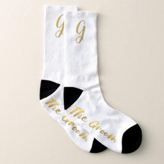The Groom Gold Monogram Winter Wedding Socks 1