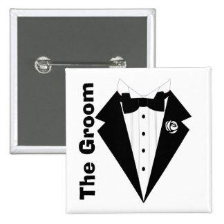 The groom,wedding 15 cm square badge