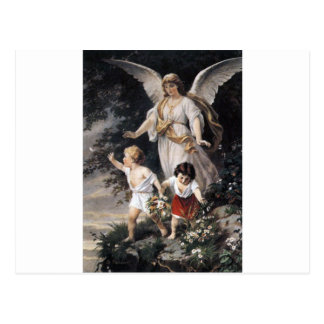The Guardian Angel and Children, Vintage Painting. Postcard