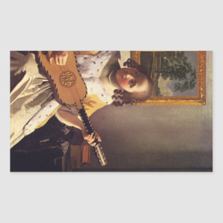 The guitar player by Johannes Vermeer Rectangle Stickers