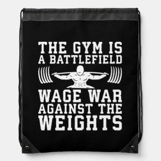 The Gym Is A Battlefield - Workout Motivational Drawstring Bag