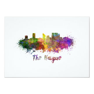 The Hague skyline in watercolor Card