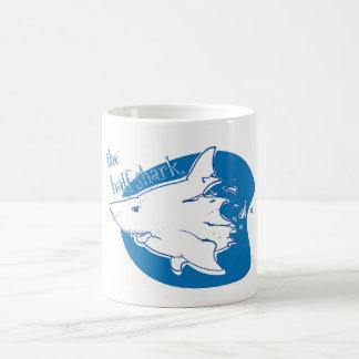 the half shark funny cartoon coffee mug