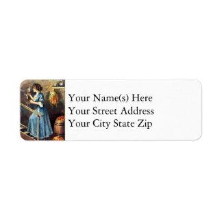 The Halloween Mirror Vintage Halloween Return Address Label
