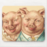 The Handsome Pig Couple Mouse Mats