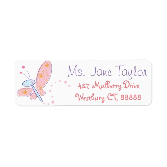 The Happy Butterfly Baby Shower Return Address Label